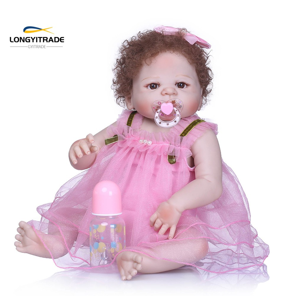 Handmade Vinyl Silicone  Doll  born Curly Hair Pretend Toy