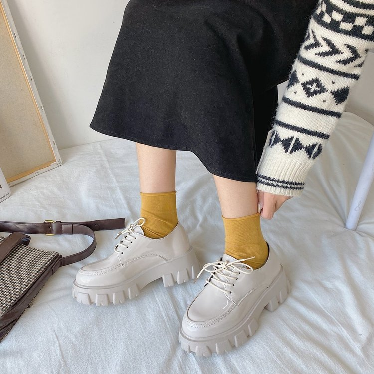 Giày Oxford Nữ Đế Bệt Cột Dây Thời Trang
