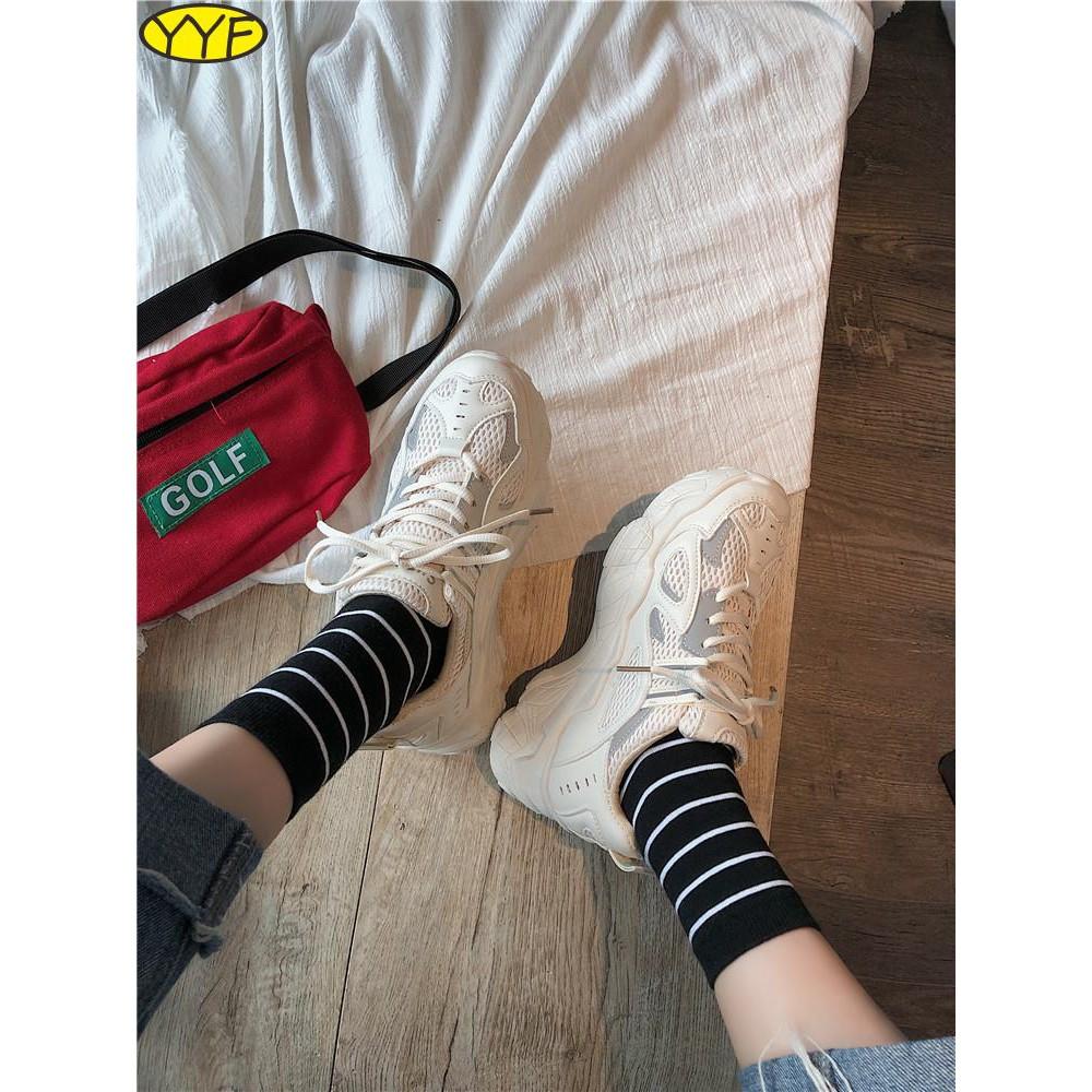 รองเท้าผู้หญิงที่มีคุณภาพสูง, รองเท้าเก่าระบายอากาศ, น้ำของผู้หญิง, สไตล์ฮ่องกง, ตาข่ายด้านล่างหนา, รองเท้ากีฬาสตรี, รอง