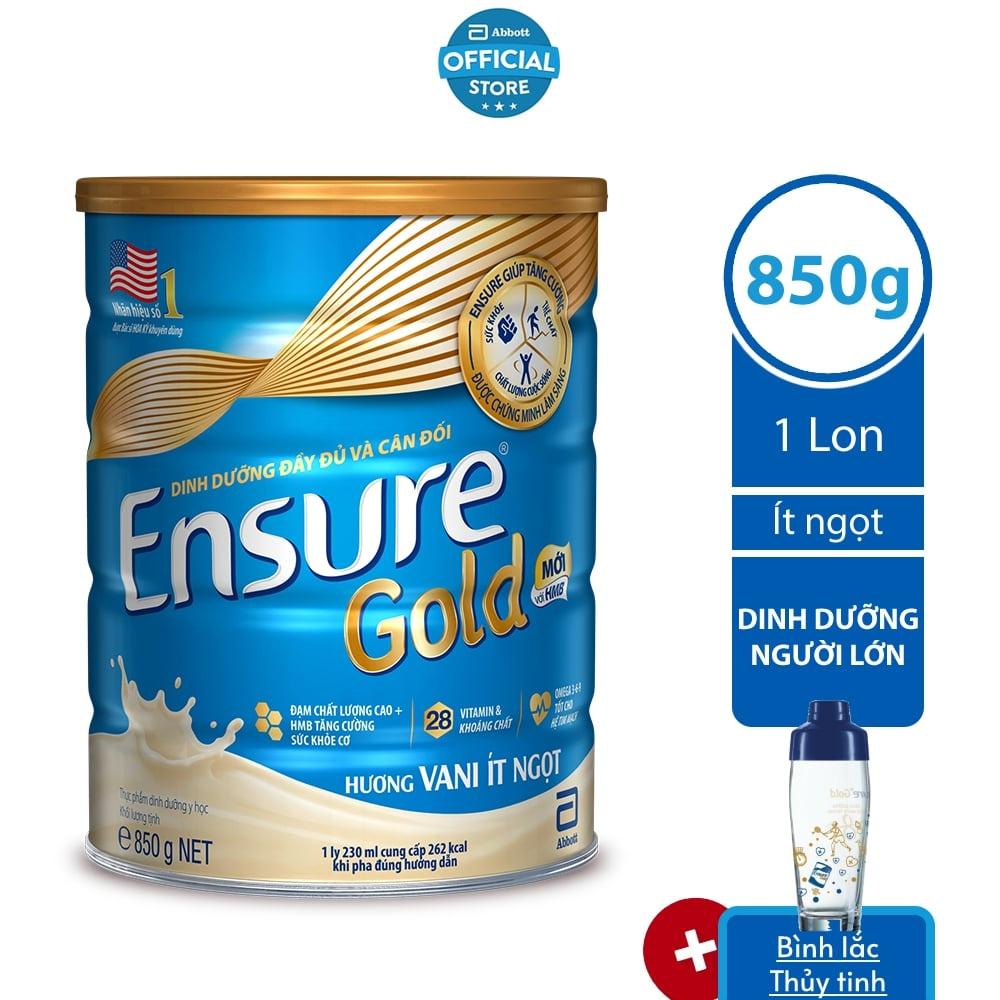 Sữa bột Ensure Ít ngọt 850G/lon