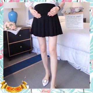 Chân váy bầu hàng cao cấp☘️Chất umi siêu đẹp, mát, mềm, mịn và ko xổ lông☘️váy bầu xếp ly size M, L (43~70kg)