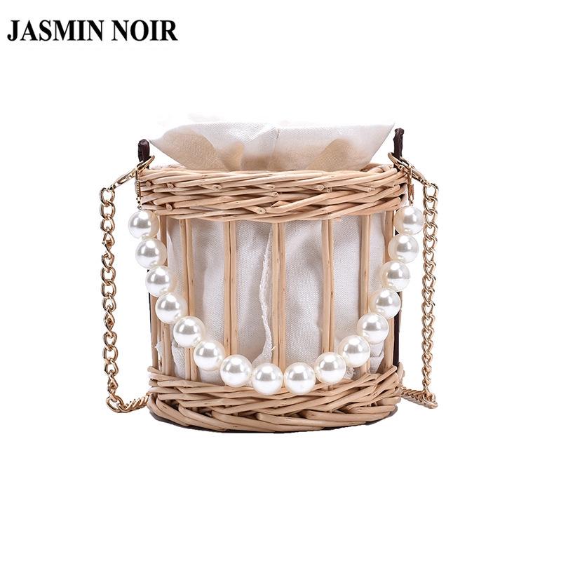 Túi Đeo Chéo JASMIN NOIR Phối Cói Quai Xách Đính Ngọc Trai Cỡ Nhỏ Cho Nữ