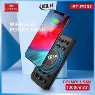 Sạc dự phòng không dây 10.000mAh. pin tích điện dung lượng cao 15W hỗ trợ sạc nhanh Quick Charge 3.0 KLH Earldom PD01