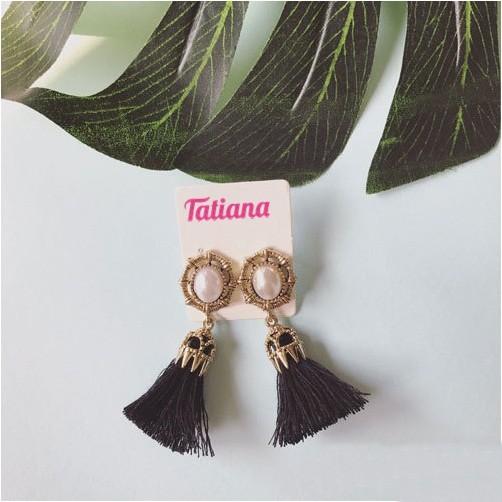 Bông Tai Tua Rua Hoa Văn NHỎ - Tatiana -EH2787 (Đen)