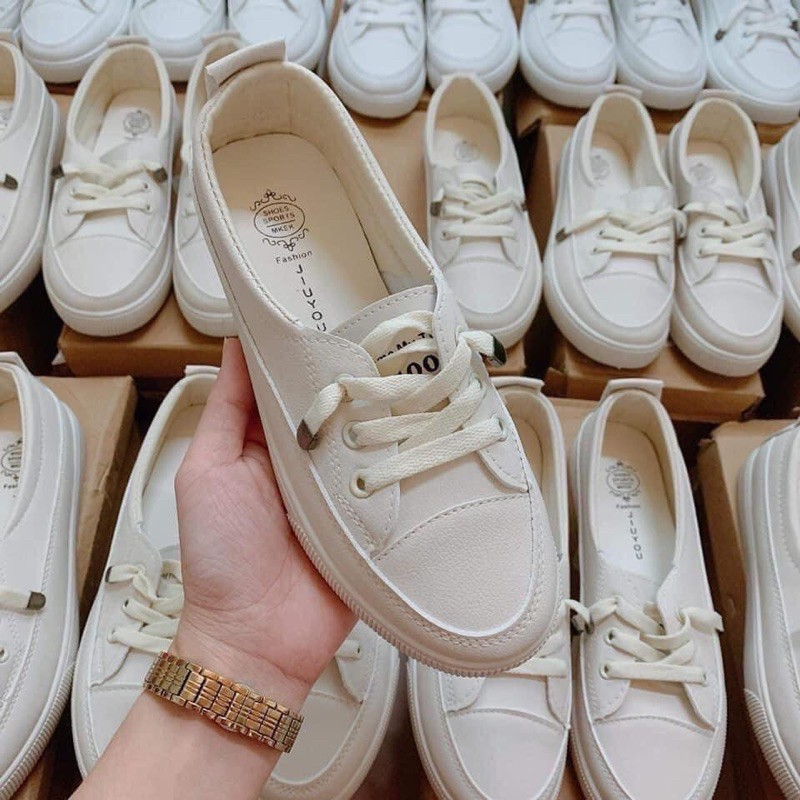 SẴN ĐỦ SIZE Giày lười nữ trắng đế bệt dây rút cao cấp, giày slip on nữ