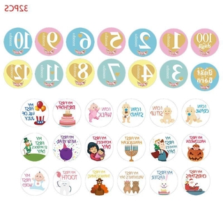 Loner 32PCS Baby Pregnant Women Monthly Photograph Sticker Cute Cartoon Photo Prop NEW baby monthly stickers unisex baby milestone stickers baby month stickers milestone baby stickers for baby shower baby stickers for each month boy baby stickers monthly