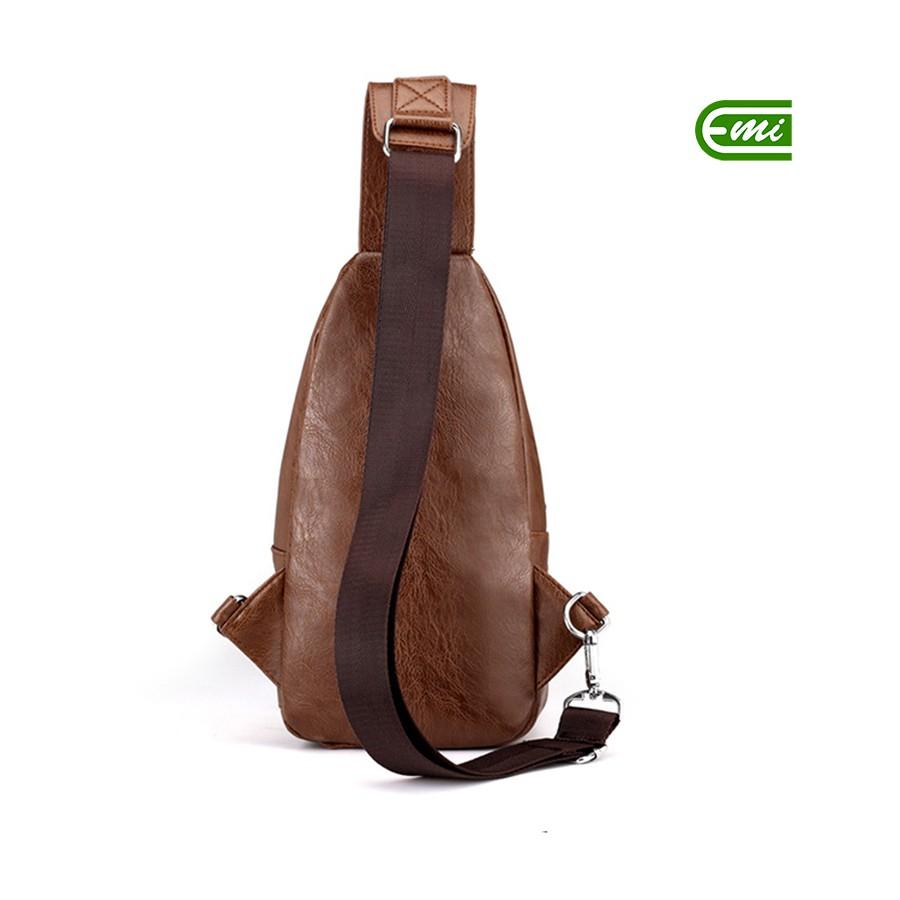Túi đeo chéo da nam nữ da bền nhiều ngăn thời trang tiện lợi kích thước phù hợp mọi nhu cầu EMIBE70