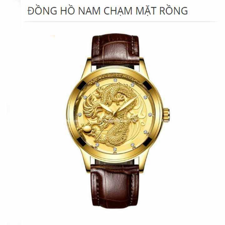 Đồng hồ nam Tivise rồng vàng kèm kính xuyên đêm vòng tay may mắn