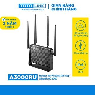 Router Wi-Fi băng tần kép Gigabit AC1200 TOTOLINK A3000RU - Cục phát wifi chuẩn AC hiệu năng cao - Hàng chính hãng