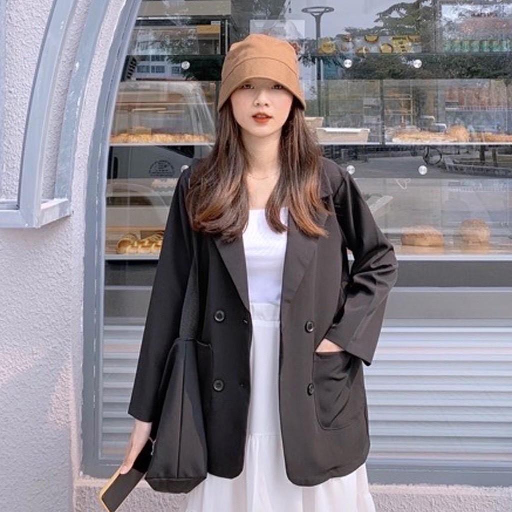 [Mã APWARN20 hoàn 20k xu đơn 0đ] Áo Blazer đen trơn phong cách cá tính của giới trẻ