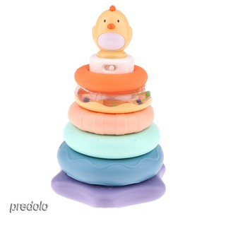 Baby Kids Plastic Ring Stack Educational Stacking Tower w/ Rattle Ball Toy