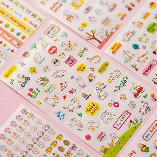 Bộ 6 tấm sticker mèo cute trang trí sổ, lịch, planner