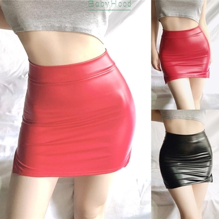 Skirts Stretch High waist Bodycon Tight Hip Party Clubwear Nightwear Lingerie Wetlook Split Mini Skirt Fashion
