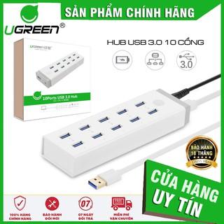 Hub chia sang 10 cổng USB 3.0 Ugreen 20297 ✔HÀNG CHÍNH HÃNG ✔ có nguồn đi kèm