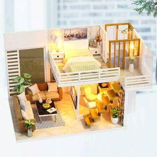 Kèm mica – Mô hình nhà gỗ búp bê dollhouse DIY – K031 Simple and elegan