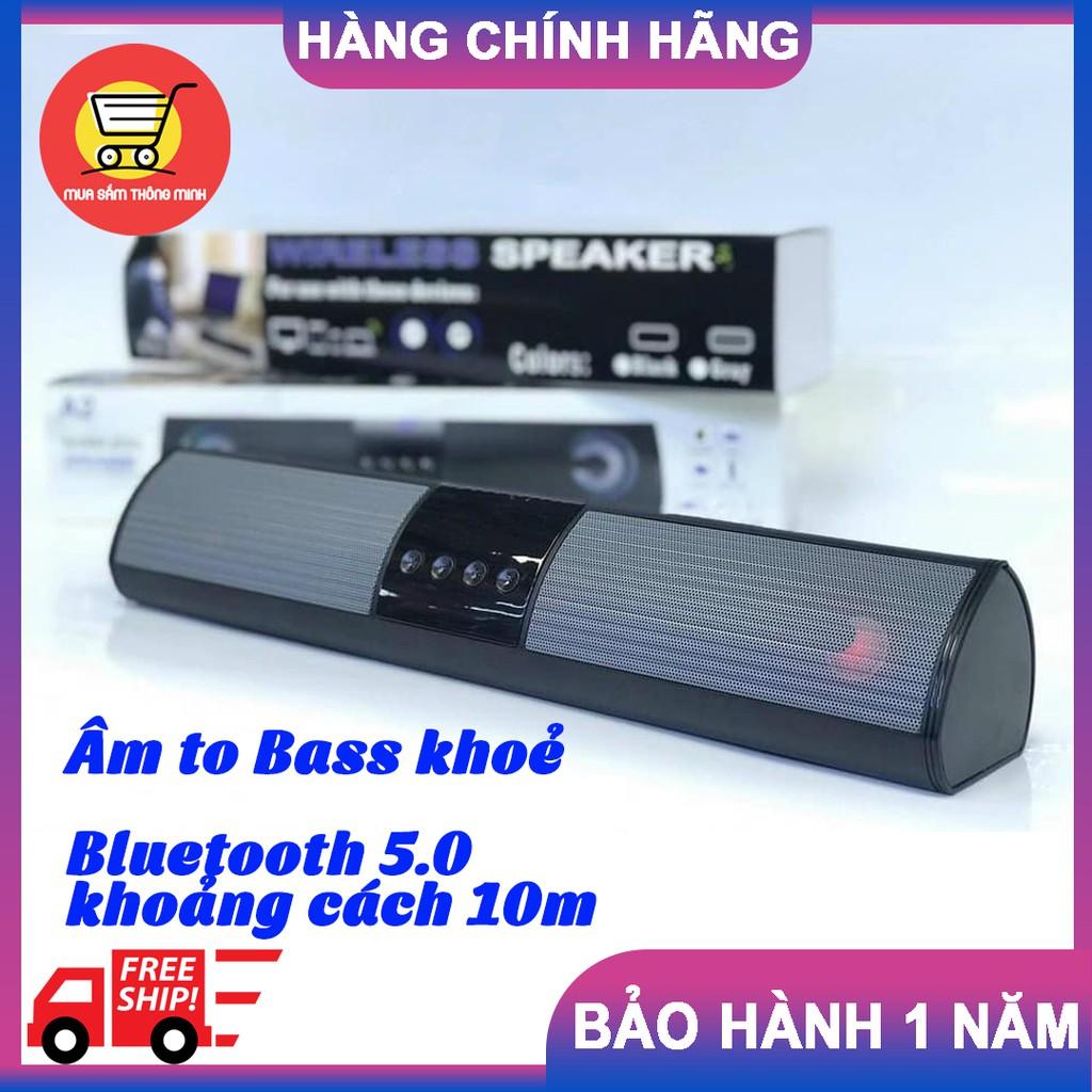 Loa Bluetooth không dây JD A2 Âm to bass khoẻ, Bluetooth 5.0 khoảng cách  10m, pin trâu dùng liên tục 6-8h, có đài FM - Loa Bluetooth
