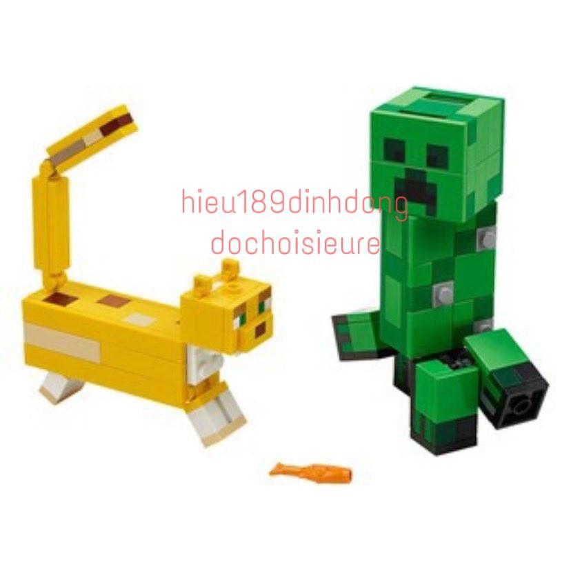 Lắp ráp xếp hình non lego minecraft my world 21156 , lari 11474 : Creeper Khổng lồ và Mèo gấm...