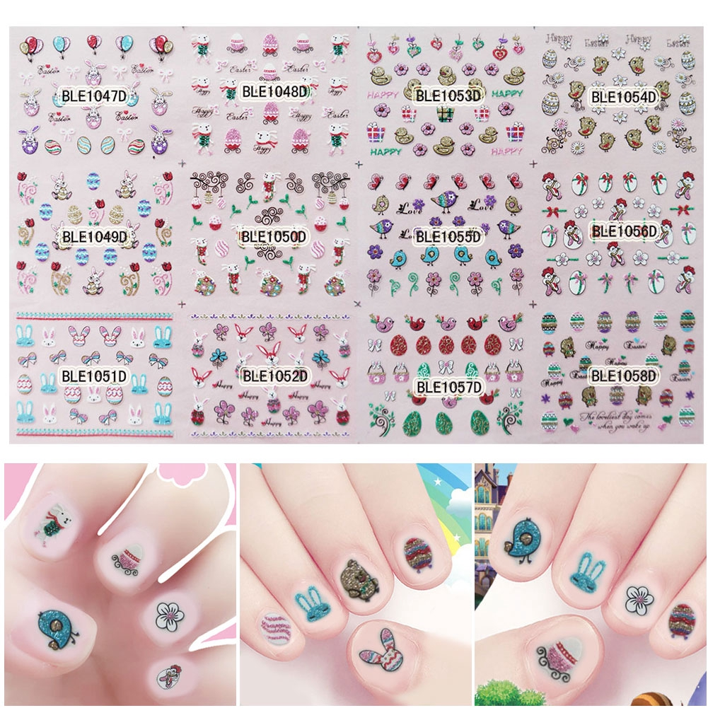 Nail Decorations Accessories Rabbit Bunny Cute Ladies DIY Easter Art Stickers