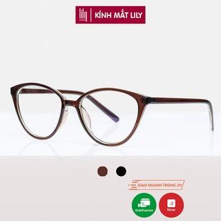 Gọng kính cận nữ Lilyeyewear nhựa dẻo, mắt mèo, thời trang phong cách - Y2360