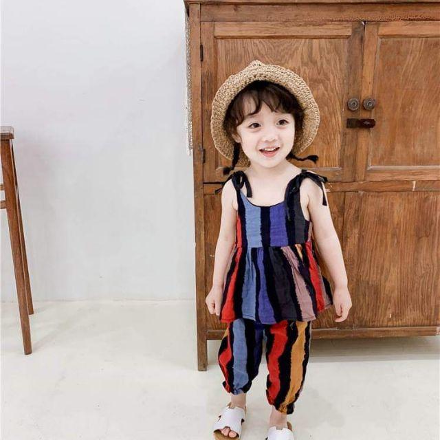 Bộ áo vải vintage bé gái