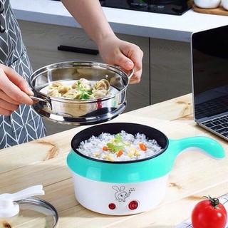 HÀNG XỊN Nồi Điện Mini Hai Tầng Đa Năng Tặng Kèm Khay Hấp có thể Chiên, Xào, Nấu ăn, nấu cơm, nấu lẩu mini thumbnail