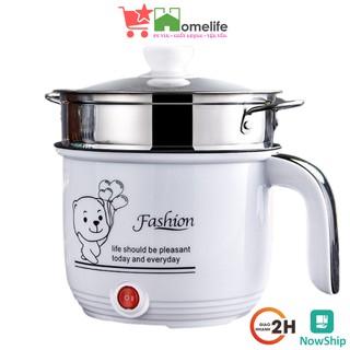 Ca Nấu Mì, Nấu Cơm Đa Năng Có Tay Cầm 1,8L – Nồi Lẩu Điện Mini Kèm Giá Hấp Inox, Ca Mỳ Đa Năng Cooking Poot