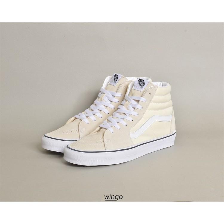 (Giày Chính Hãng) Vans Sk8-Hi Classic White / True White