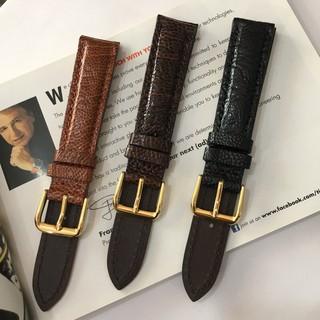 Dây da đồng hồ đà điểu kèm khoá size 18-20-22mm ( tặng chốt thay dây )
