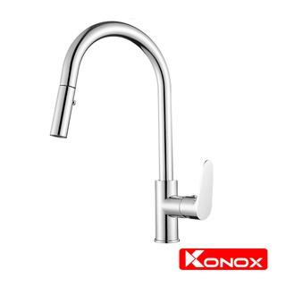 Vòi rửa bát rút dây KONOX KN1900 hợp kim đồng 61% tiêu chuẩn Châu Âu CW617N, bề mặt xử lý công nghệ PVD Chrome 5 lớp