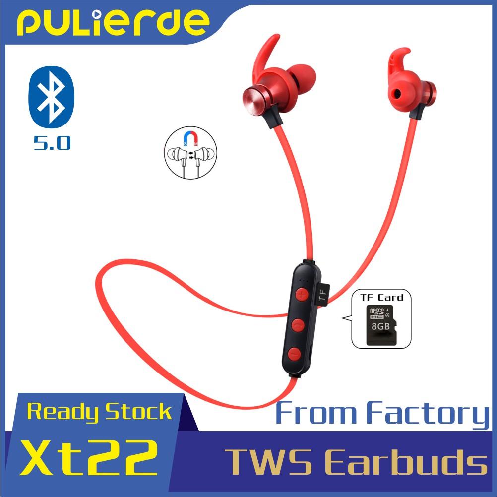 Tai nghe Pulierde XT22 bluetooth không dây thể thao có mic hỗ trợ thẻ nhớ TF tiện dụng