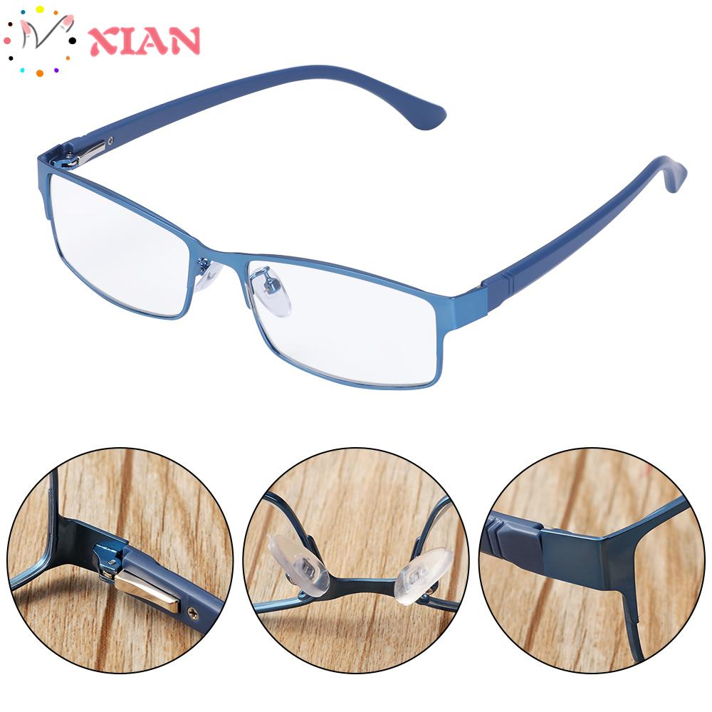 XIANSTORE New Fashion Eyeglasses Magnifying +1.00~+4.0 Diopter Business Reading Glasses Flexible Portable Metal Titanium Alloy Ultra Light Resin Men Eye wear Vision Care/Multicolor
