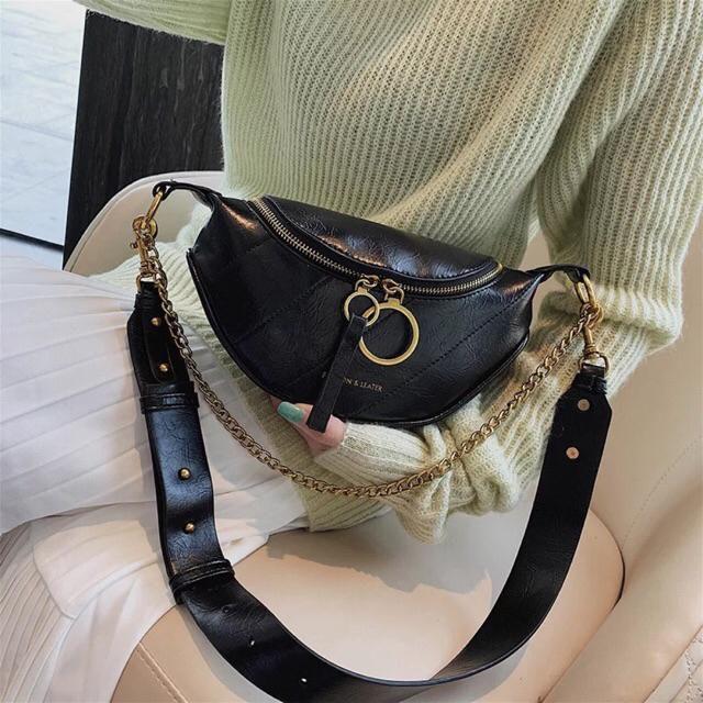 [hàng mới] Túi bao tử da mềm đeo hông 2 dây hót 2019