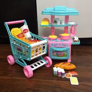 Bộ đồ chơi bếp cho bé kèm xe đẩy siêu thị mẫu peppa y hình