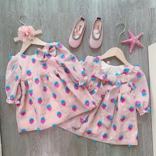 Váy hồng dâu nơ bé gái cực xinh