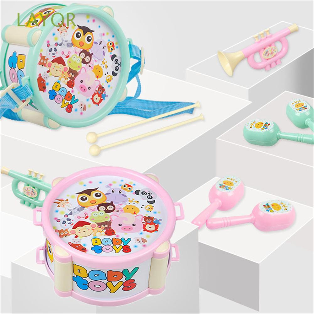 LAYOR 6pcs/set Playing Cartoon Hand Grasp Bell Baby Gift Early Educational Drum Toys