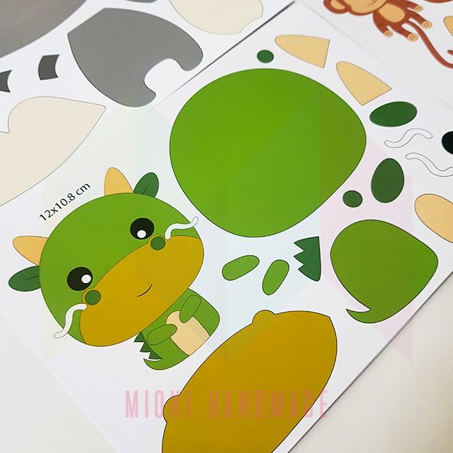 10 khuôn (sticker) thú làm treo nôi vải nỉ tặng kèm bộ khuôn sao mây