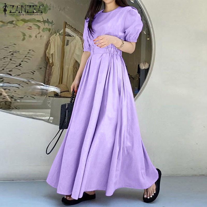 Mặc gì đẹp: Bồng bềnh với ZANZEA Đầm dài cổ chữ O tay ngắn kiểu phồng co giãn thời trang nữ