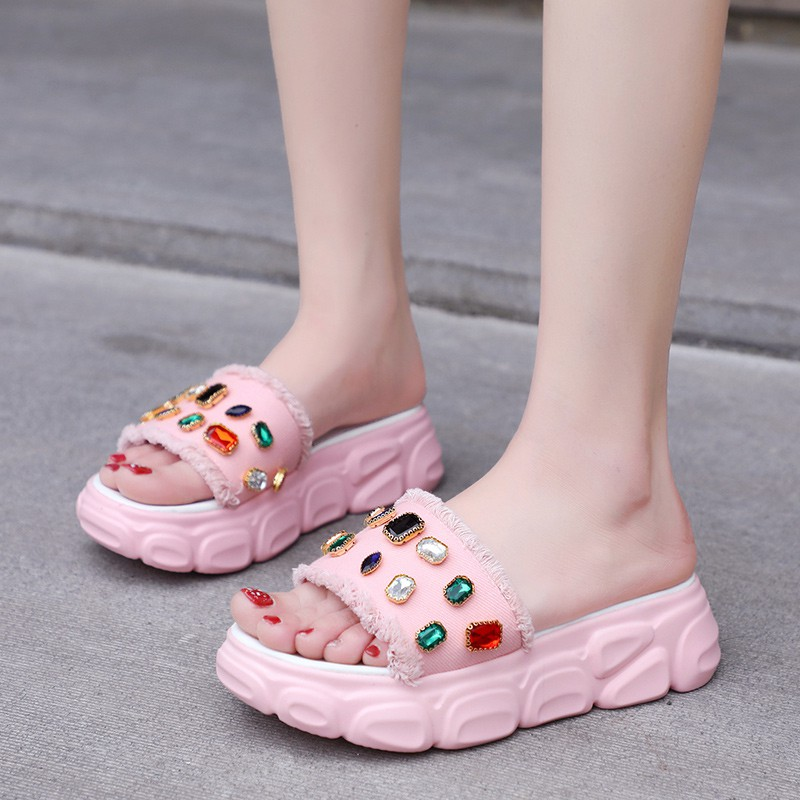 super fire Roman shoes 2019 new candy color sponge cake thick bottom beach shoes