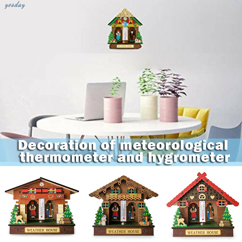 Weather House Chalet Barometer Thermometer Hygrometer Hanging Ornaments Decoration