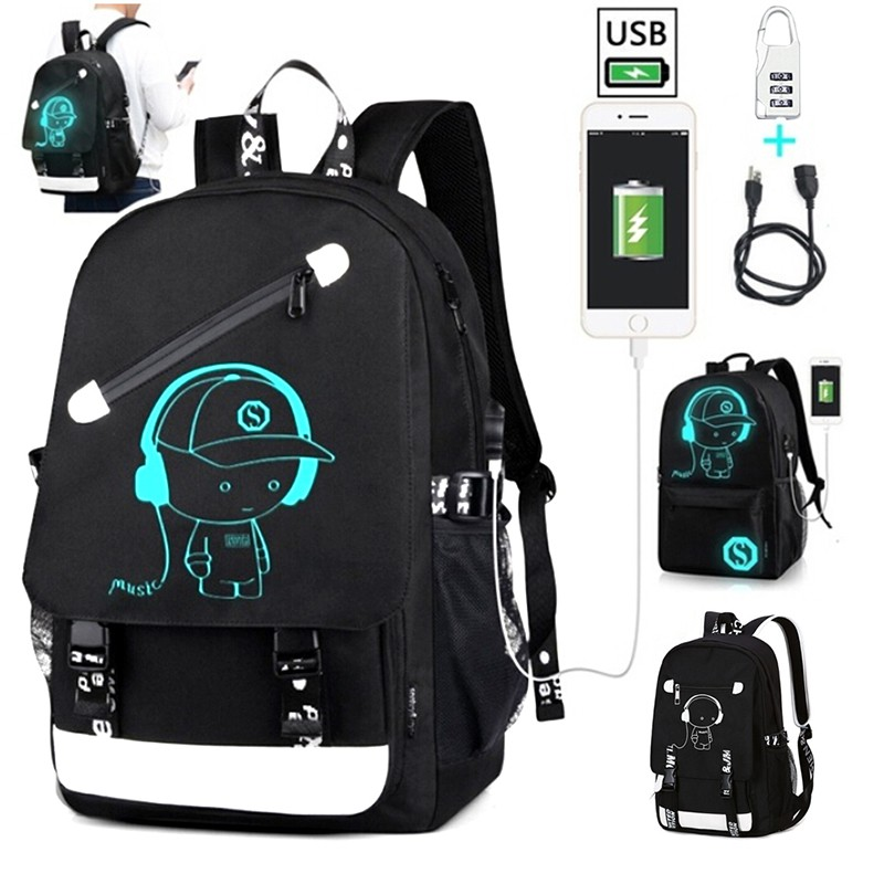 Anti-theft Student Boys School Backpack Luminous USB Charge Laptop Backpac