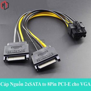 Cáp Nguồn 2x SATA to 8 Pin PCI-E cho VGA ( Gộp 2 cổng nguồn SATA thành 6+2 Pin )