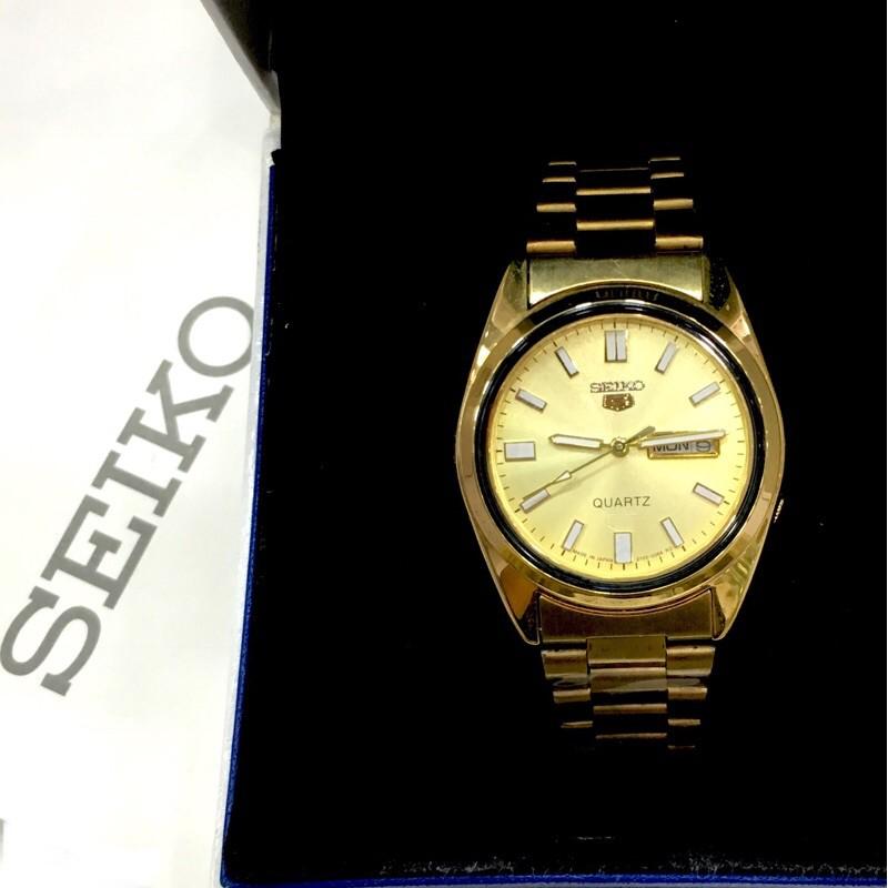 [ Máy nhật pin ] Đồng hồ nam sk5 dây kim loại mạ vàng hai lịch