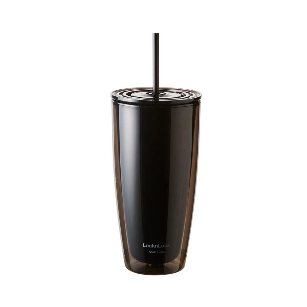 Ly nhựa cách nhiệt cực tốt 2 lớp LocknLock kèm ống hút HAP507 750ml - Kèm ống hút - Hàng Chính Hãng
