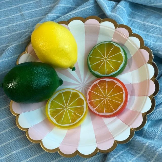 Combo 2 quả chanh vàng xanh và 3 lát chanh 3 màu
