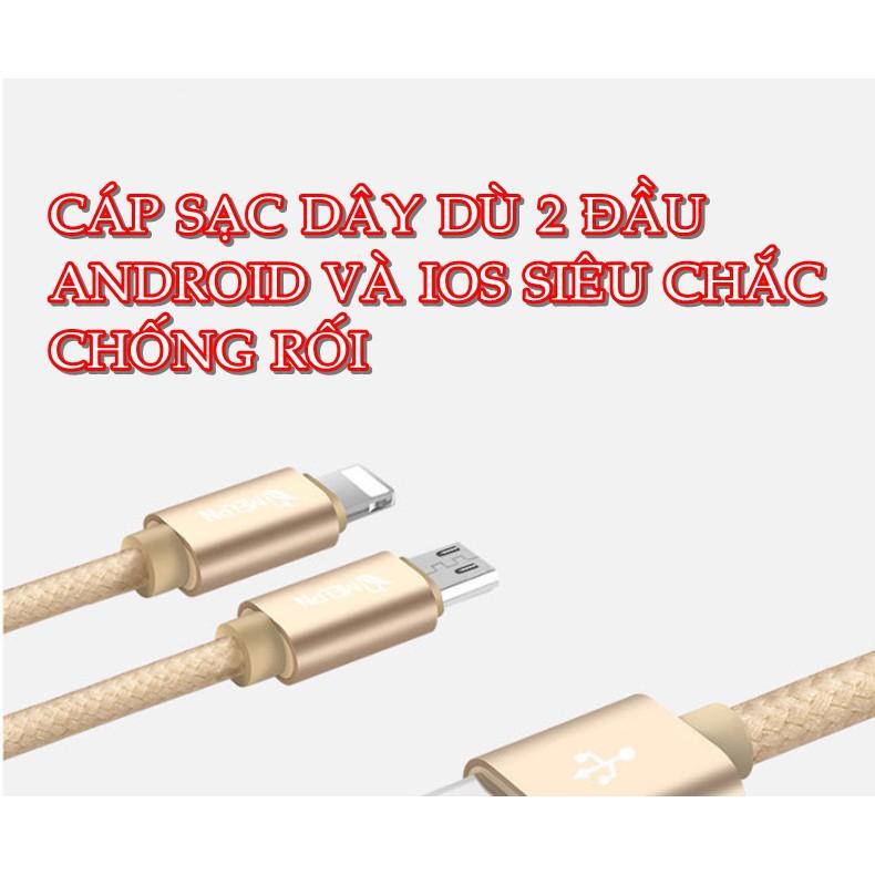 Cáp Sạc 2 Đầu Android và Lightning Dây Dù - 2741418 , 425234641 , 322_425234641 , 59000 , Cap-Sac-2-Dau-Android-va-Lightning-Day-Du-322_425234641 , shopee.vn , Cáp Sạc 2 Đầu Android và Lightning Dây Dù
