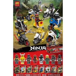 Đồ chơi lắp ráp lego ninjago season 9 lele 31155 xếp hình ninja và xe cho bé trai trọn bộ 8 hộp như hình.