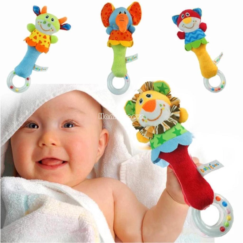 ❤COD Baby Kids Soft Cute Animal Model Handbells Rattles Handle Developmental Toys