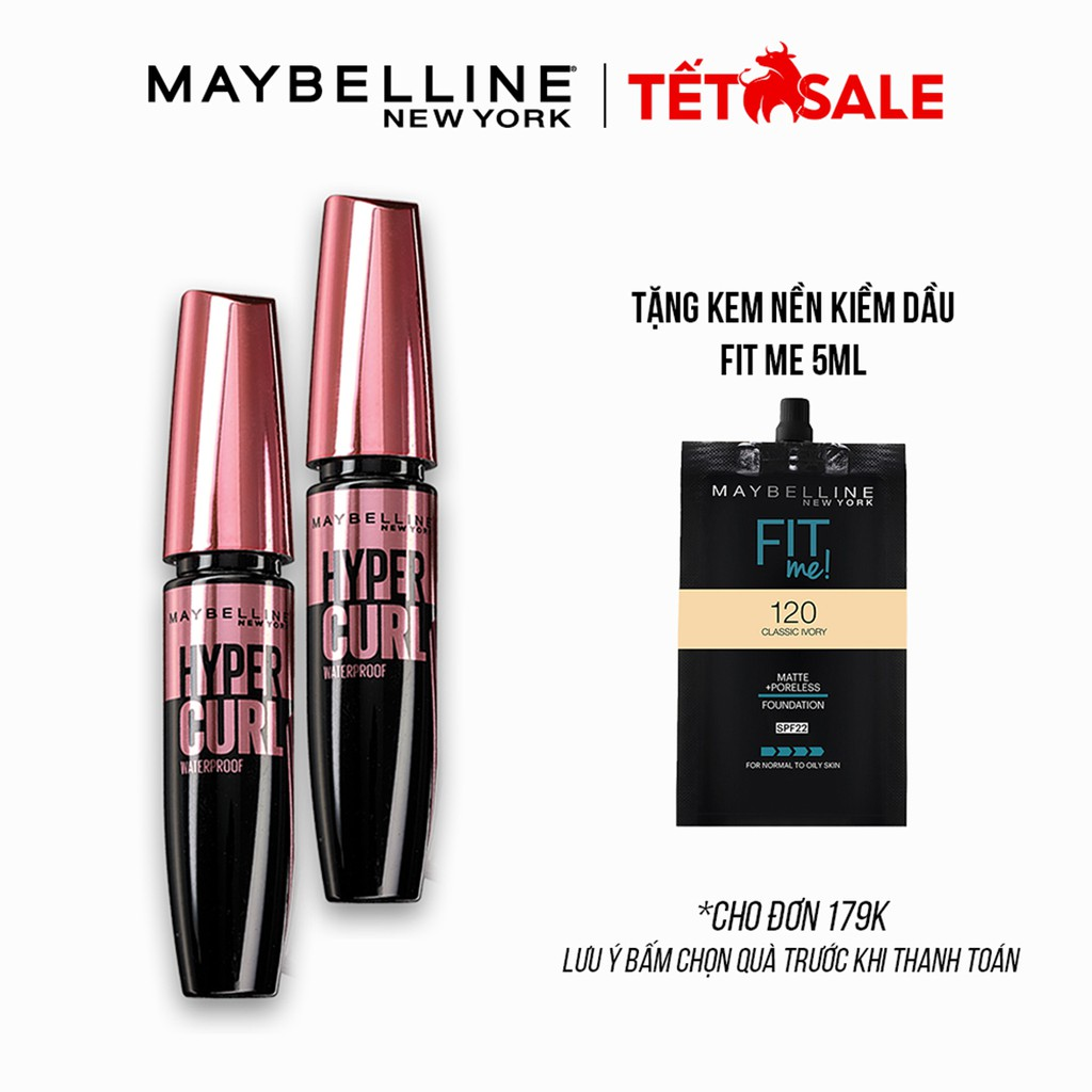 [Bộ trang điểm] Bộ đôi Mascara Cong Mi Hyper Curl Maybelline New York