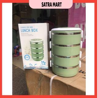 Hộp cơm giữ nhiệt lúa mạch 4 tầng ruột inox 304 – SatraMart