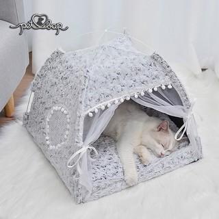 Nhà cho thú cưng có khung sắt chắc chắn có thể gấp gọn Lều cho chó mèo bằng sợi fabric họa tiết hoa hồng thumbnail